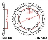 Звезда JT 1847.47 Serow 225 4JG Disc Brake для мотоцикла, доставка по России